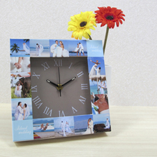Horloge personnalisée 16 collages cadran doré