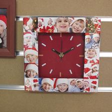 Horloge personnalisée 16 collages cadran rouge