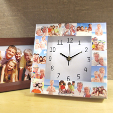 Horloge personnalisée 16 collages large cadran blanc