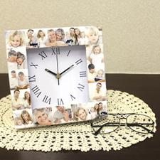 Horloge personnalisée 16 collages cadran romain
