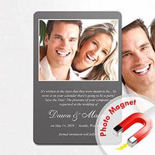Aimants photo de frigo annonce de mariage gris personnalisés
