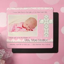 Aimant photo invitation de baptême fille 8,89 x 10,16 cm