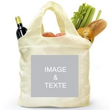 Sac shopping plié deux côtés personnalisés, image carrée