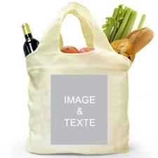 Sac shopping plié 2 côtés personnalisés, image portrait