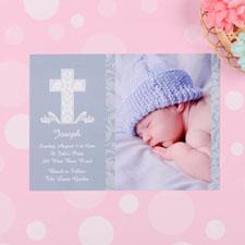 Cartes d'invitation photo baptême garçon croix encadré