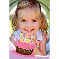 Carte de voeux personnalisée lenticulaire cupcake rose cool