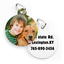 Médaille pour chien ou chat forme ronde impression personnalisée (2 côtés personnalisés)