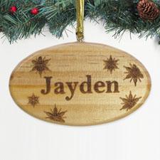 Ornement en bois gravé étoile flocons de neige personnalisé