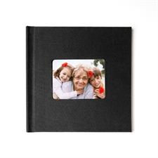 Concevez votre album photo couverture rigide en lin noir 20,32 x 20,32 cm
