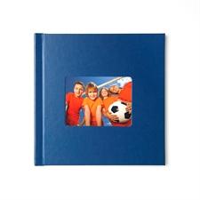 Concevez votre album photo couverture rigide en cuir bleu 20,32 x 20,32 cm