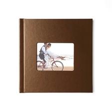 Concevez votre album photo couverture rigide en cuir brun 20,32 x 20,32 cm
