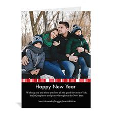 Carte de Noël photo personnalisé portrait joyeux miracle rouge