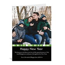 Carte de Noël verte portrait photo personnalisée joyeux miracle