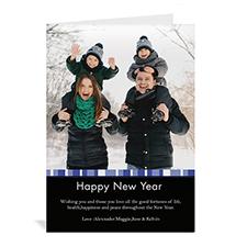 Carte de Noël photo portrait personnalisée joyeux miracle bleu