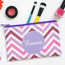 Purple Chevron Personalized Cosmetic Bag 6X9