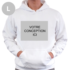 Sweatshirt à capuche sans tirette personnalisé blanc devant personnalisé taille large