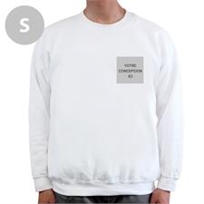 Sweat-shirt blanc personnalisé imprimez votre logo, S