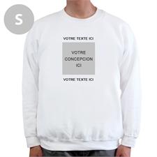 Créez votre propre sweat-shirt blanc taille S avec image & deux lignes de texte