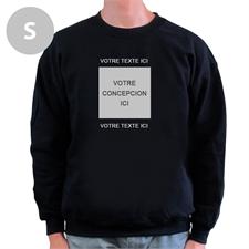Créez votre propre sweat-shirt noir taille S avec image & deux lignes de texte