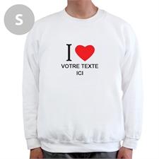 Sweat-shirt blanc message personnalisé J'aime, S