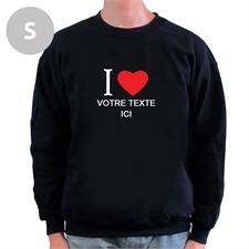 Sweat-shirt noir message personnalisé J'aime, S