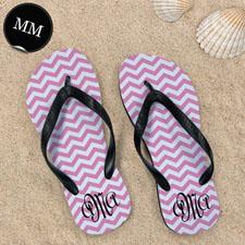 Concevoir mes propres sandales tongs motif chevron rose avec nom personnalisé, hommes moyen