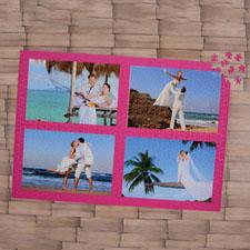 Puzzle personnalisé rose vif quatre collage 1000 pièces 50,16 x 71,12 cm