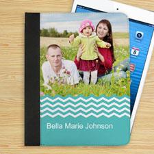 Étui folio photo personnalisé chevron turquoise personnalisé
