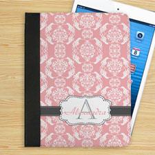 Étui folio monogrammé damas rose élégant et gris personnalisé