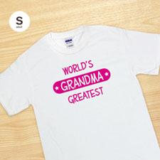 T-shirt blanc adulte petit impression personnalisée meilleure mamie du monde