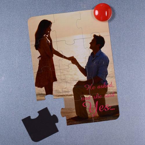 Invitation puzzle personnalisée magnétique Il a demandé et elle a dit oui