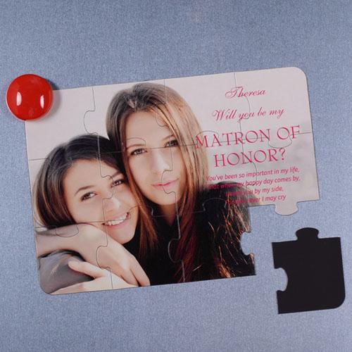 Invitation puzzle photo personnalisée magnétique Veux-tu être ma demoiselle d'honneur