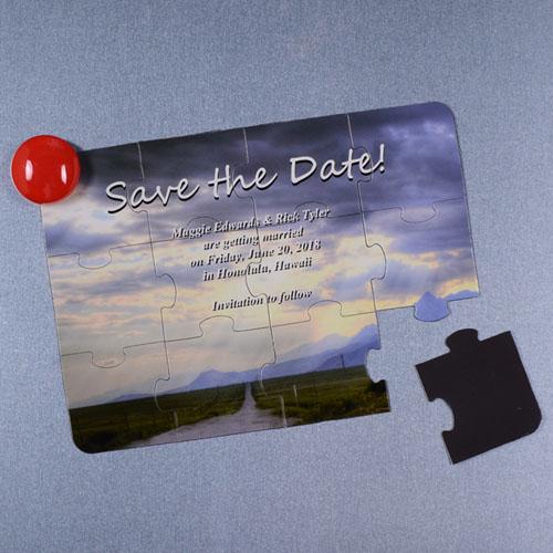 Invitation puzzle photo personnalisée magnétique Réservez la date