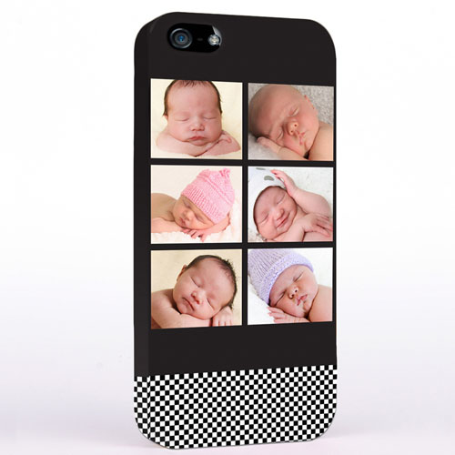 Personalized B&W Stripes Six Collage iPhone Case