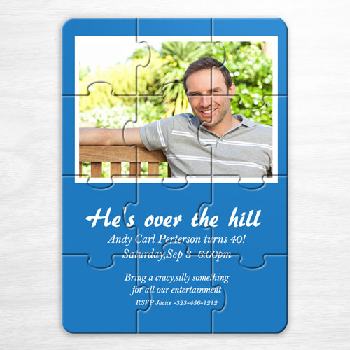 Invitation anniversaire puzzle photo personalisée bleue