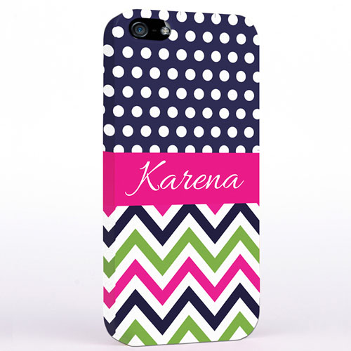 Personalized Colorful Chevron Black & White Polka Dots iPhone Case