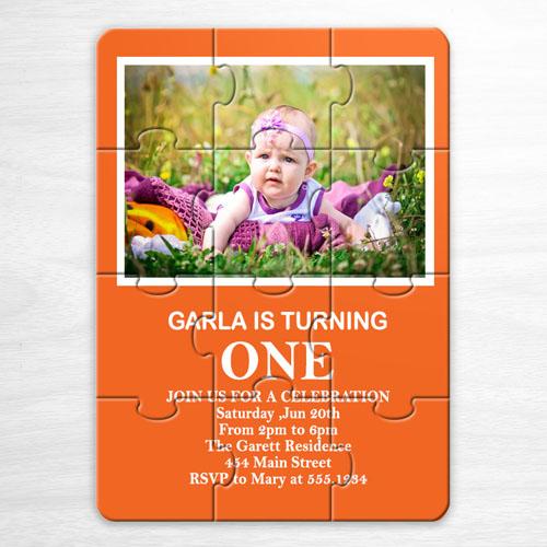 Invitation puzzle photo anniversaire personnalisée orange