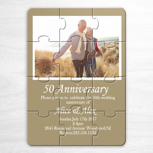 Invitation puzzle photo personnalisée dorée mariage