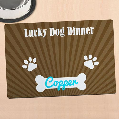 Tapis de repas personnalisé dîner de chien chanceux