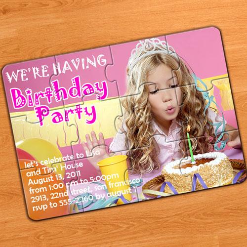 Invitation puzzle personnalisée fête d'anniversaire
