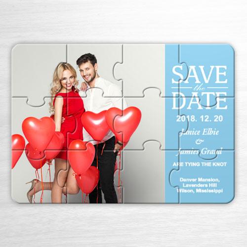 Invitation puzzle bleue personnalisée Notre jour, mariage