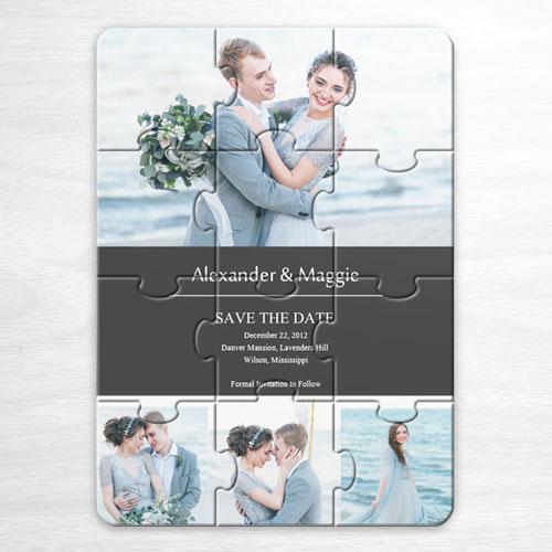 Invitation puzzle personnalisée Réservez la date, invitation puzzle grise 4 photos collage
