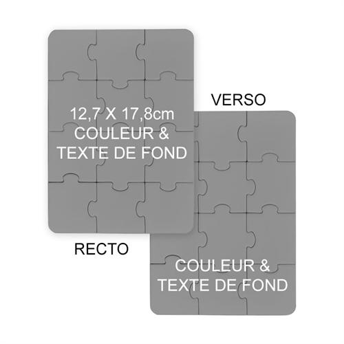 Invitations puzzle double face 12,7 x 17,78 cm, couleur ou image de fond et texte